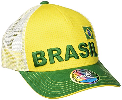 World Cup Soccer Brazil Boys Jersey Hook Flag Snapback with Adjustable Snap Closure, Yellow, One Size