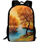 Phyllis Walker Backpack Landscape Lake Tree Print Fashion College Double Shoulder Bag Travel Outdoor Camping Crossbody Bags for Men Women