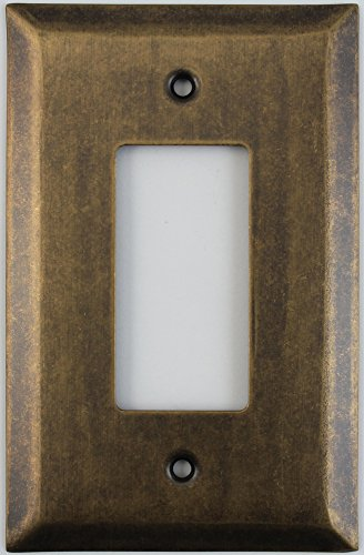 Jumbo Stamped Aged Antique Brass One Gang GFI/Rocker Switch Wall Plate