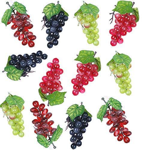 Huante 12 racimos de uvas artificiales simulacion de uvas decorativas realistas, racimos de uvas falsas para boda, vino o cocina centro de mesa