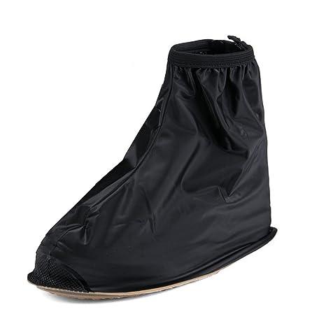Buwico - Cubrezapatillas para la lluvia, para zapatillas de ciclismo, 1 par, alta calidad, impermeable y antideslizante, plástico, negro, XL