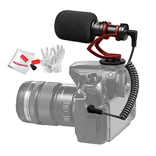 Comica CVM-VM10 II Cardioid Directional Shotgun Video Microphone for DJI OSMO Smartphone GoPro and Micro Camera with Red Shock-Mount Windscreen Wind Muff and Carrying Case