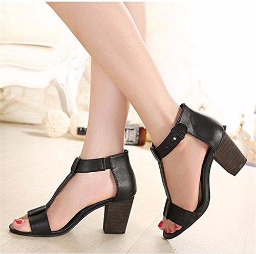 Zapatos negros de verano Tacón de cuña formales Qiyun.z para mujer U4Oh546JnF