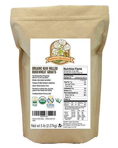Organic Raw Hulled Buckwheat Groats (5lb) by Anthony's