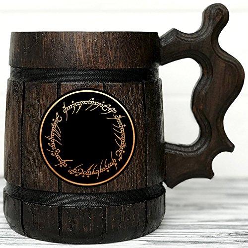 (Lord Of The Rings Gifts / Wood Mug / LOTR Mug/ Lord Of The Rings Gift / Wood Beer Mug / LOTR Gift. Engraved Mug / Personal Gifts for Men / Beer Tankard K47)