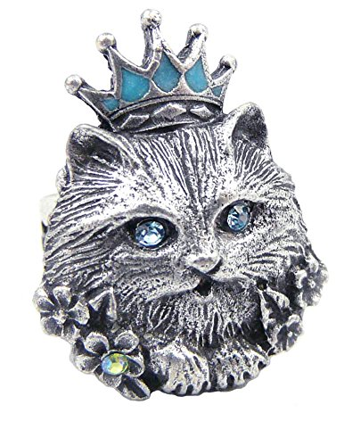 Glamour Puss Adjustable Pewter Cat Ring with Swarovski Crystals
