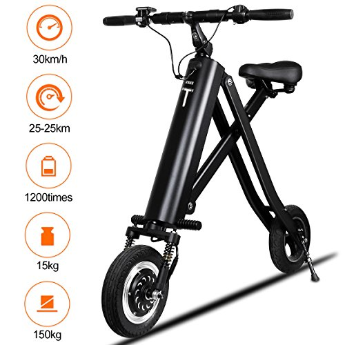 BuySevenSide Urban E-Bike And Folding Electric Scooter The Newest Foldable Bicycle Model With 15-18 MPH Max Speed 25-30 Miles Range and Upgraded Brake System (black)