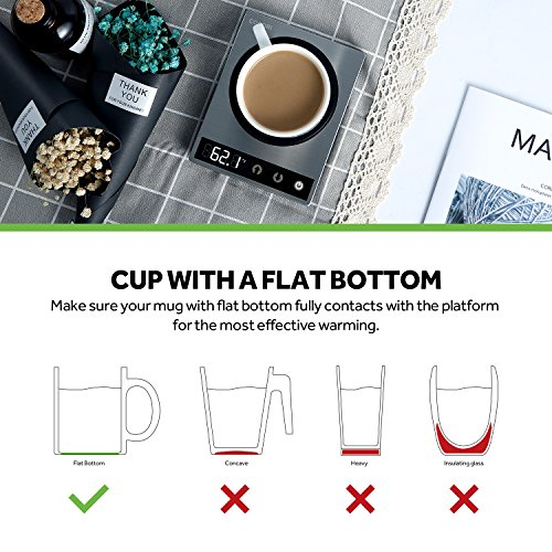 COSORI Premium 24Watt Stainless Steel Mug, Best Gift Idea, Office/Home Use Electric Cup Beverage Warmer Plate Coffee Accessories with LED Backlit Display for Tea,Water,Cocoa,Milk by COSORI (Image #5)