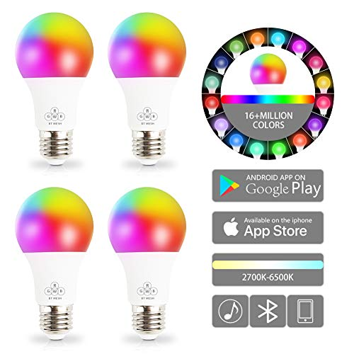 Aokairuisi Bluetooth Mesh Smart Light Bulb, No Hub Required, 5W RGB Color Changing Light with Google & Alexa Voice Control, Wake up Night Light, Dimamable iOS Android App, 4 Pack (Best Wake Up App Android)
