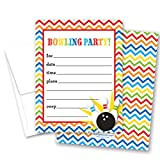 24 Bowling Fill-in Kids Birthday Party Invitations