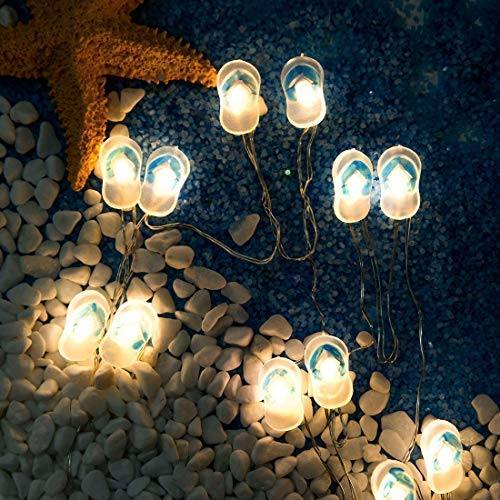 Slipper Lights Small Blue Flip Flops String Lights Decorative Ornaments 10 ft 30 LEDs Warm White for Home, Porch, Patio, Deck, Balcony, Fence, Window, Mirror, Headboard Decoration Battery-Operated ()