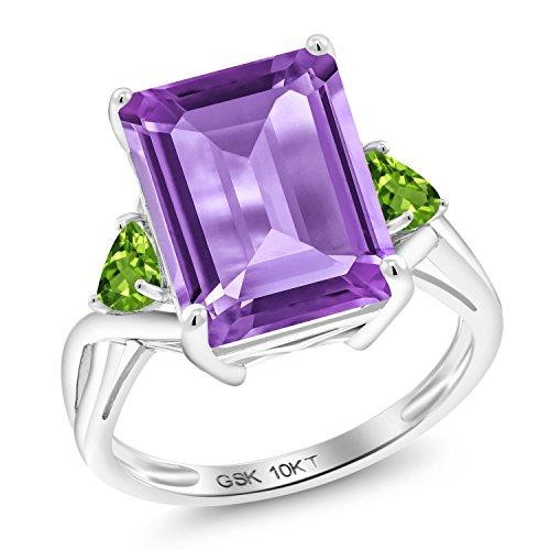Gem Stone King 7.52 Ct Emerald Cut Purple Amethyst Green Peridot 10K White Gold Ring (Size 8)
