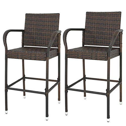 Cypress Shop Wicker Bar Stool Outdoor Rattan Weave High Bar Armrest Chairs Patio Garden Backyard Chairs Seating Barstool Seat Weather Resistant Home and Garden Furniture Set of 2 ()