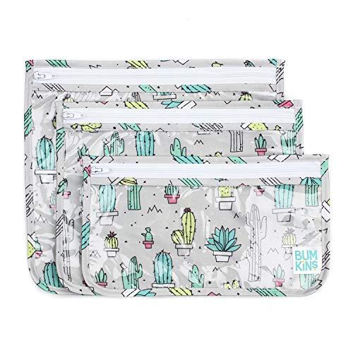 Bumkins TSA Approved Toiletry Bag, Travel Bag, PVC-Free, Vinyl-Free, Clear Front, Set of 3 - Cactus