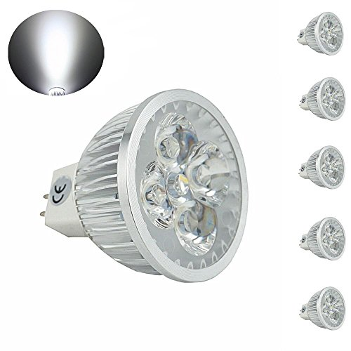 CTKcom MR16 GU5.3 LED Bulbs(6 Pack)- 4W 120 Volts Light Bulbs Equal to 40W Halogen Bulbs Cool White 330lm 6000K Spotlight for Landscape Accent Recessed Track Lighting