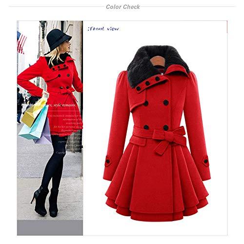 Mujer Doble Mezcla 3xl Gaoqq Con Botonadura Invierno Cinturón Para l De Red black Gabardina Lana Abrigos Y44qfwH