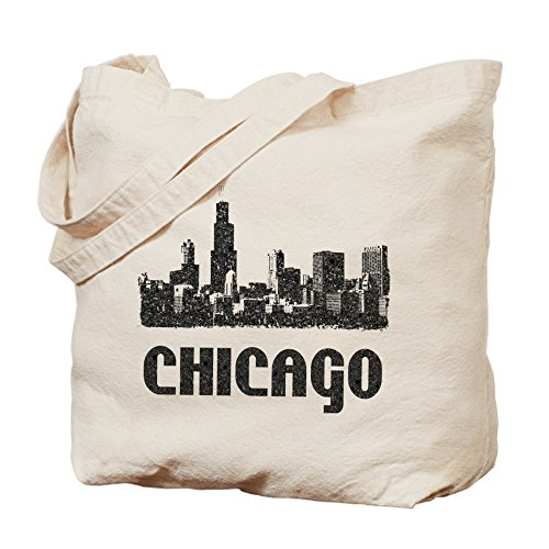 CafePress - Chicago Skyline Vintage Reusable Canvas - Natural Canvas Tote Bag, Cloth Shopping - Shopping Chicago Il