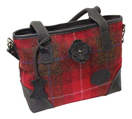(Wild Scottish Deerskin Designer Leather Red Tartan Check Harris Tweed Large Hannah Bag)