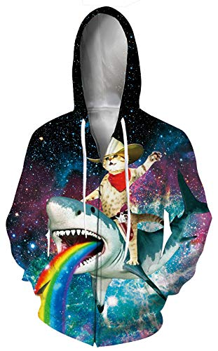 Leapparel Women 3D Hoodie Cool Colorful Rainbow Shark Full Zip Print Graphic Sweatshirts Pullover Casual Pocket Size L