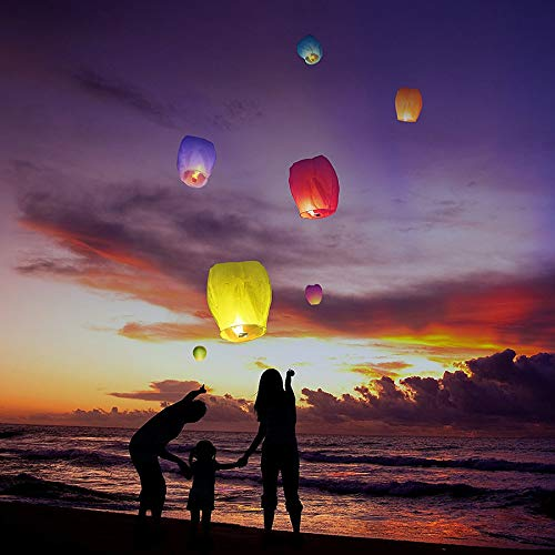 Nuluphu Sky Lanterns 10-Pack,for Any Birthdays, Parties, New Years,Funeral, Memorial Ceremonies, and More(White) by Nuluphu (Image #5)