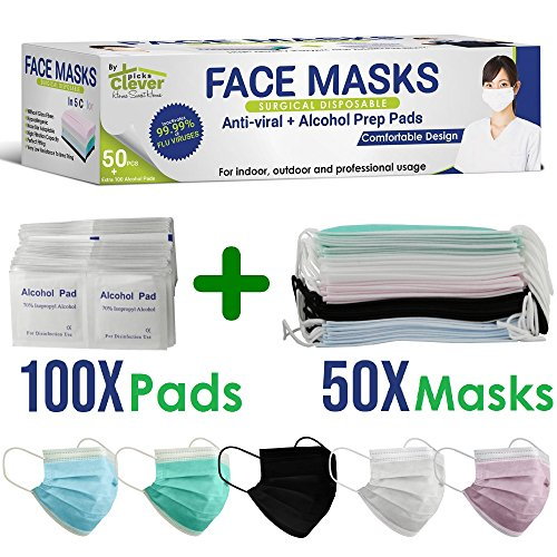 Disposable Surgical Allergy Pollen Dust Face Masks   Extra layers Advanced Filter 99.99% Clean air   Outdoor Indoor and Professional use   50Pcs Masks + 100Pcs 70% Isopropyl alcohol pads   CleverPicks ()
