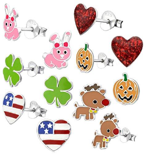 925 Sterling Silver Set of 6 Pairs Holiday Set Easter Bunny, Clover, Reindeer, American Flag, Red Heart, & Pumpkin Stud Earrings for Girls (Nickel Free)