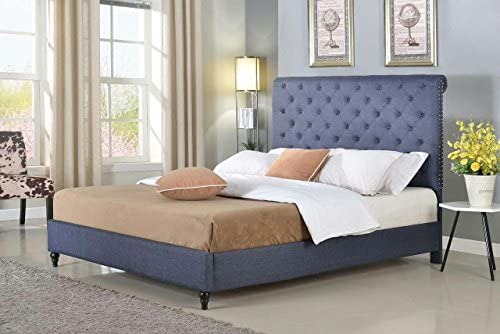 Home Life furBed00008_Cloth_Blue_King Model 008 Platform Bed
