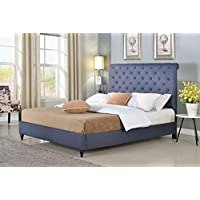 Home Life Cloth Charcoal Blue Linen 51 Tall Headboard Platform Bed with Slats King - Complete Bed 5 Year Warranty Included 008
