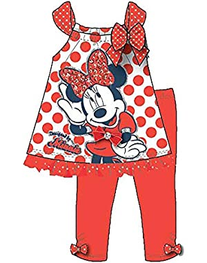 Minnie Mouse Baby Girl Polka Dot T Shirt and Solid Legging Outfit - Red