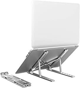 "Hippo & Frog Aluminum Laptop Stand,Computer Stand, Tablet Stand,6 Levels Adjustable Foldable Portable Desktop Stand Compatible with Macbooks,HP,Dell, Acer, Asus,Lenovo and up to 10-15.6"" Laptops"