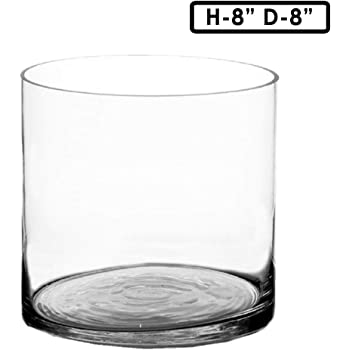 Amazon Com 8 Inch Round Large Glass Vase 8 Quot Clear Cylinder Oversize Centerpiece 8x8