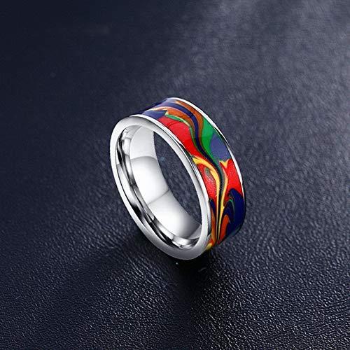 Tomikko 7MM Painting Enamel Ring Stainless Steel Men Silver Jewelry Wedding Band Sz 7-12 | Model RNG - 24874 | 12