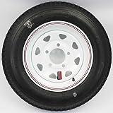 LoadStar 5-hole 12'' x4'' Red & Blue Pin Stripe White Spoke Trailer Wheel and Tire 5.30-12 4ply