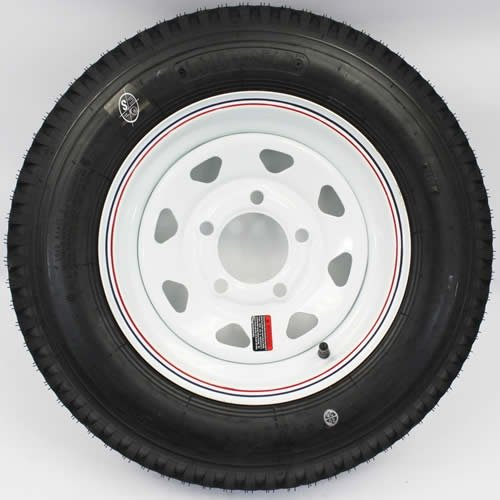 LoadStar 5-hole 12'' x4'' Red & Blue Pin Stripe White Spoke Trailer Wheel and Tire 5.30-12 4ply by SWW WHEEL