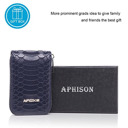 Minimalist Card for Organizer APHISONUK Wallet Credit Red Wallet Pocket Leather RFID Blue Compact Women Blocking Case Box Ladies Gift Holder 466P8I