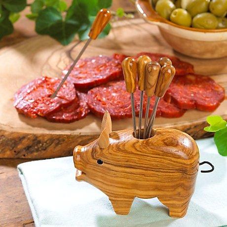 Olive Wood Appetizer Forks Tienda