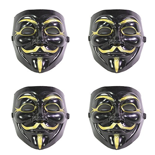 Set of 4 Black V for Vendetta Guy Fawkes Anonymous Costume Cosplay Masks