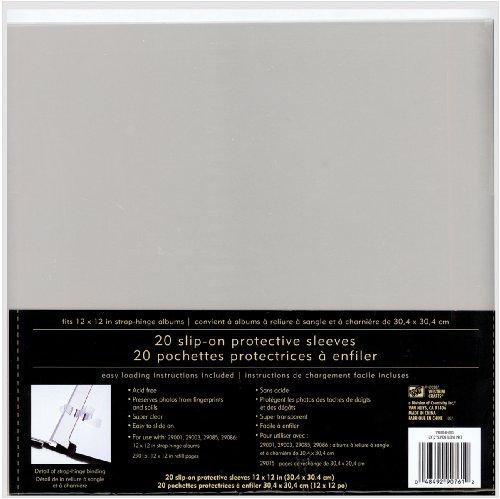Westrim Strap Hinge Slip-On Page Protectors, 12-Inch by 12-Inch, 20/Pkg (Scrapbooking Westrim Pages)