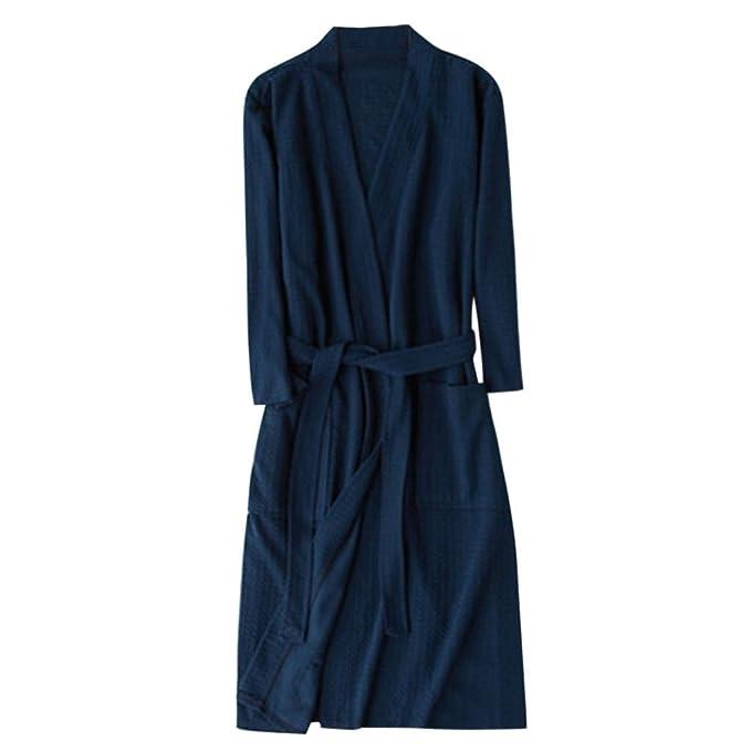 QinMM Unisex Mujer Hombre Batas Kimono Respirable Camisón sólido Pijama Túnica Ropa de Dormir: Amazon.es: Ropa y accesorios