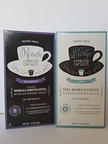 Trader Joe's Espresso Capsules - Lungo and Ristretto - Nespresso Compatable - 10 capsules per pack 1.8 oz each (2 packs)