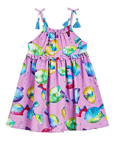 Toddler Girl Summer Beach Floral Backless Sleeveless Casual Cotton A-Line Skirt Slip Dress Purple ()