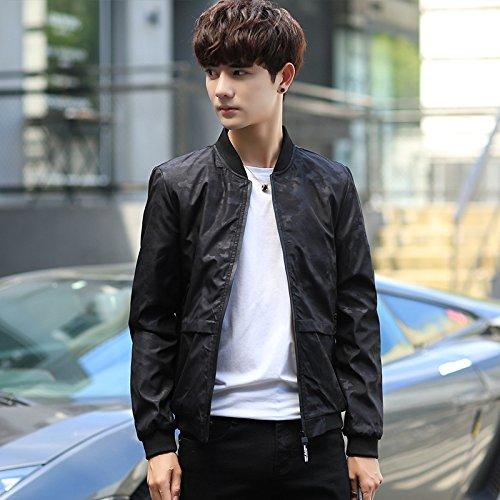 Los Hombres Chaquetas Chaquetas de otoño ropa de béisbol Sau versión coreana de la juventud, negro ,XXXXL