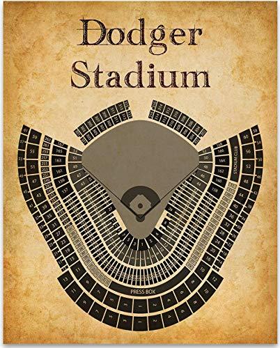 LA Dodgers Baseball Stadium Seating Chart Art Print - 11x14 Unframed Art Print - Great Sports Bar Decor and Gift for Baseball Fans ()