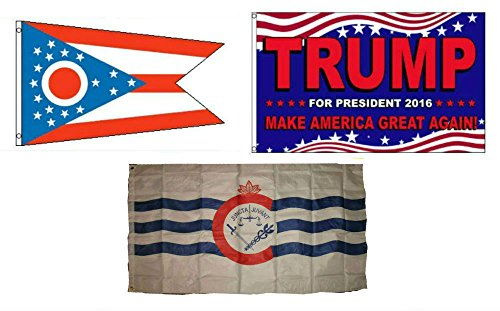 ALBATROS 3 ft x 5 ft Trump 2016 with State of Ohio with City of Cincinnati Set Flag for Home and Parades, Official Party, All Weather Indoors Outdoors