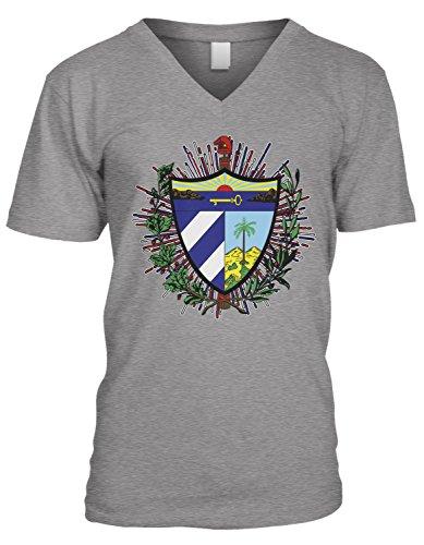 Amdesco Men's Coat of arms of Cuba, Cuban Coat of Arms V-Neck T-Shirt, Heather Gray XL