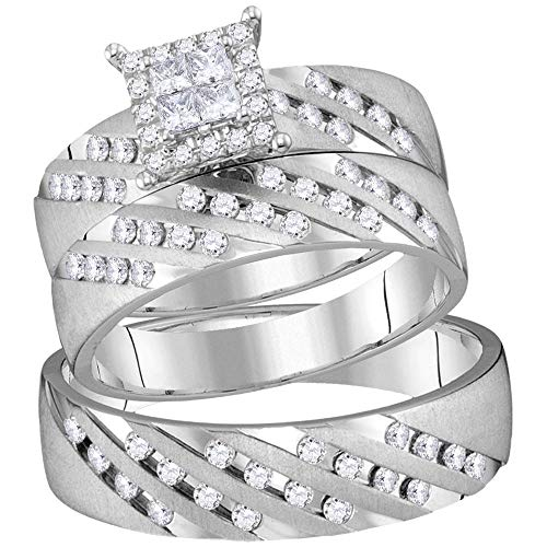 Jewels By Lux 14kt White Gold His & Hers Princess Diamond Cluster Matching Bridal Wedding Ring Band Set 7/8 Cttw In Invisible Setting (I1 clarity; H-I color)