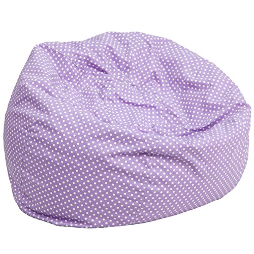 Offex OFX-465915-FF Oversized Lavender Cover with Mini White Dots Bean Bag Chair ()