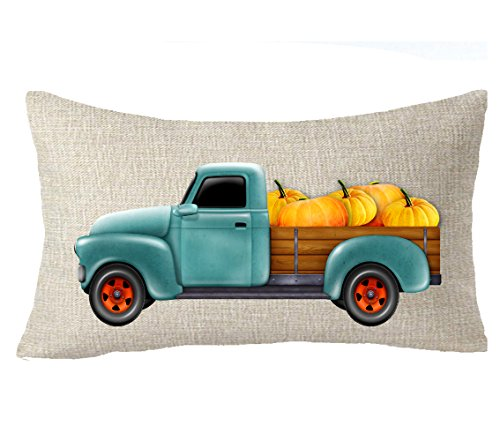 FELENIW Happy Fall Yall Pumpkin Harvest Car Throw Pillow Cover Cushion Case Cotton Linen Material Decorative Lumbar 12x 20 inches