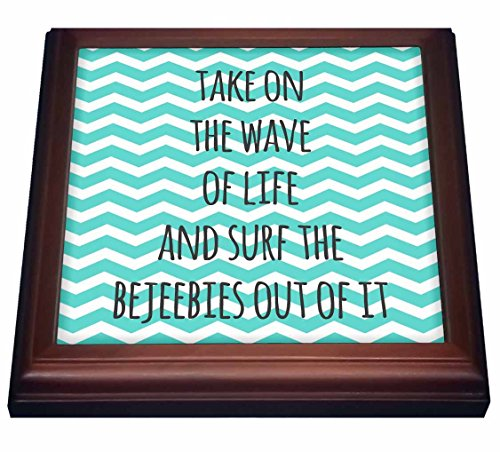 """3dRose trv_151377_1 Take on The Wave of Life and Surf The Bejeebies Out of It-Fun Inspiring Surfing Sayings-Trivet with Ceramic Tile, 8 by 8"""", Brown"""