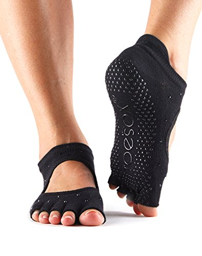 ToeSox Women's Bellarina Half Toe Grip Non-Slip for Ballet, Yoga, Pilates, Barre Toe Socks (Nightlife) Small